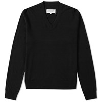 Maison Martin Margiela 14 Elbow Patch V Neck Jumper Black