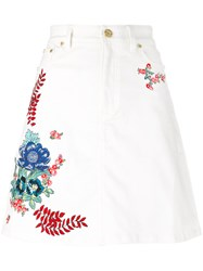 House Of Holland Embroidered Denim Skirt Women Cotton Spandex Elastane 6 White