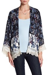 Love Zoe Floral Duster With Lace Trim Blue