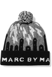 Marc By Marc Jacobs Idle Wild Intarsia Wool Beanie Gray