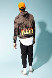 Forever 21 Tie Dye Kiss Graphic Hoodie Black Brown