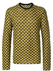 Lanvin Checker Patterned Sweater Yellow And Orange