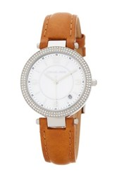 Michael Michael Kors Women's Mini Parker Crystal Accented Leather Strap Watch Brown