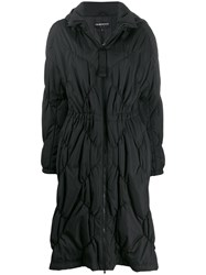 Emporio Armani Diamond Quilted Coat Black