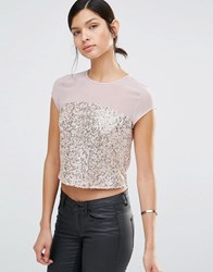 Little Mistress Sequin Top With Mesh Insert Gold