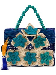 Mercedes Salazar Flowers Handbag Blue