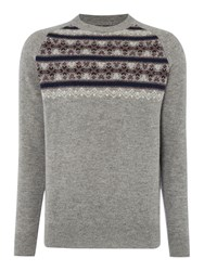 Howick Vancouver Fairisle Patterned Crew Neck Jumper Charcoal Marl