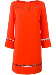 Versace Collection Perforated Detail Shift Dress Yellow Orange