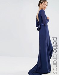 Tfnc Petite Wedding Bow Back Maxi Dress With Long Sleeves Navy