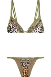 Camilla International El Duende Embellished Printed Bikini Mint Zebra Print