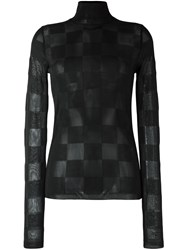 Msgm Checked Sheer Turtleneck Blouse Black