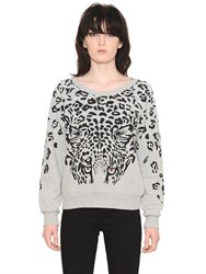 Saint Laurent Feline Print Stretch Cotton Sweatshirt