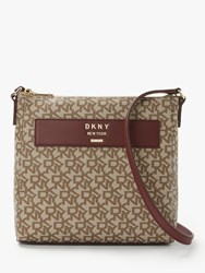 Dkny Warren Logo Print Cross Body Brown Red