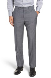 Santorelli Big And Tall Flat Front Solid Wool Trousers Grey