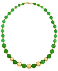 Signature Gold Dyed Green Agate Bead 6 10Mm Necklace In 14K Gold