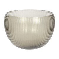Amara Striped Glass Bowl Smoke Grey