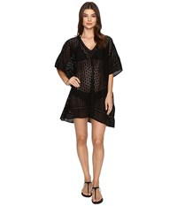 Jets By Jessika Allen Pure Embroided V Neck Kaftan Cover Up Black Women's Swimwear