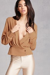 Forever 21 Plunging Button Front Top