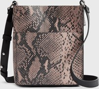 Allsaints Adelina Small North South Leather Tote Bag Snake Pink