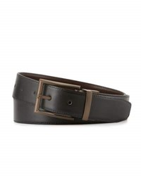 The British Belt Co Busley Italian Leather Black Burgundy