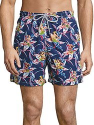 Saks Fifth Avenue Collection Pineapple Printed Swim Trunks Navy