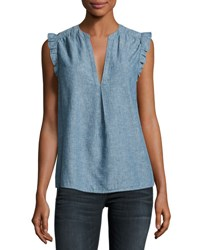 Joie Blaine Sleeveless Chambray Top Blue