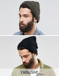 Reclaimed Vintage Oversized Beanie 2 Pack Multi