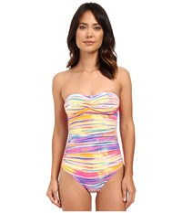 Lauren Ralph Lauren Summer Tie Dye Twist Bandeau Mio One Piece Slimming Fit W Molded Cup Multi Women's Swimsuits One Piece