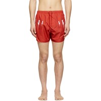 Neil Barrett Red Lightning Bolt Wings Swim Shorts