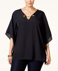 Michael Kors Plus Size Chain Trim Chiffon Poncho Top New Navy