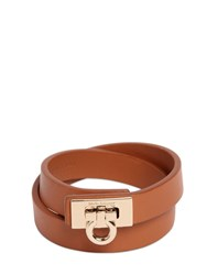 Salvatore Ferragamo Gancio Leather Bracelet