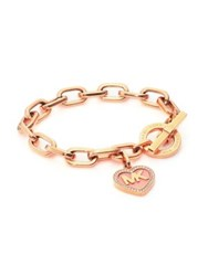 Michael Kors Logo Heart Charm Pave Toggle Bracelet Rose Gold