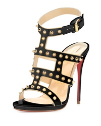 Christian Louboutin Sexystrapi Jazz Studded Zip Red Sole Pump Beige Gold