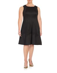 London Times Plus Lasercut A Line Dress Black