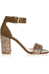 J.Crew Collection Glitter Finished Leather Sandals