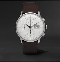 Junghans Meister Chronoscope 40Mm Stainless Steel And Leather Watch White