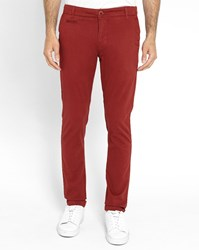 Knowledge Cotton Apparel Burgundy Stretch Slim Fit Chinos