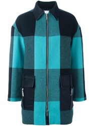 Iceberg Checked Coat Blue