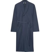 Hanro Night And Day Davide Brushed Cotton Robe Blue