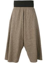 Bless Tweed Wide Leg Cropped Trousers Unisex Silk Cotton Linen Flax M Brown