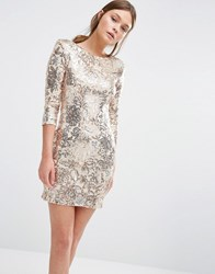 Tfnc Pattenred Sequin Mini Dress With 3 4 Sleeve Gold Cream