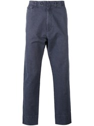 Hope Cropped Trousers Men Cotton Linen Flax 48 Blue
