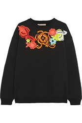 Christopher Kane Neon Guipure Lace Appliqued Cotton Blend Sweatshirt Black