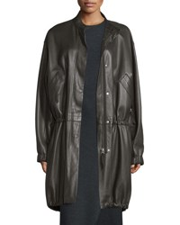 Helmut Lang Leather Zip Front Parka Dark Canopy