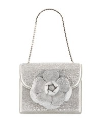 Oscar De La Renta Mini Tro Crystal Suede Crossbody Bag Silver