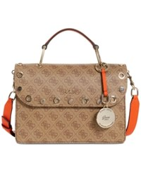 Guess Jacqui Top Handle Flap Small Satchel Brown Multi