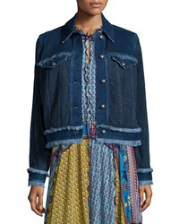 Etro Paisley Denim Jacket W Fringe Trim Navy Women's