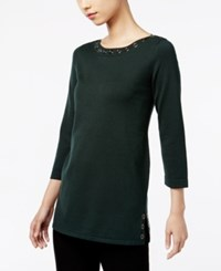 Cable And Gauge Grommet Sweater Pinegrove