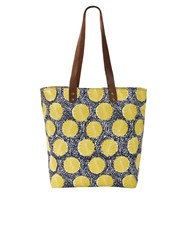 White Stuff Ginny Equator Spot Canvas Tote Blue
