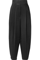 Givenchy Gabardine Paneled Satin Crepe Tapered Pants Black